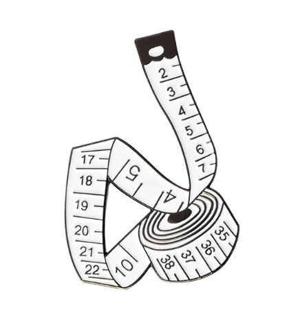 Measuring Tape Lapel Pin/Badge - White