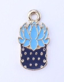 Zipper charms - Cactus Flower in Pot - Teal/Navy and Gold