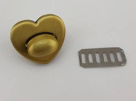 Heart Shaped Bronze Purse Twist Turn Lock Small