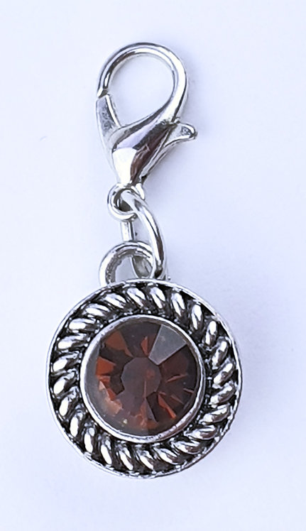 12mm Zipper charms - Amber crystal