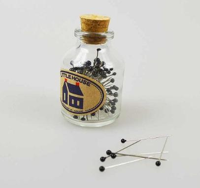 Little House Glass Head Pins -Black
