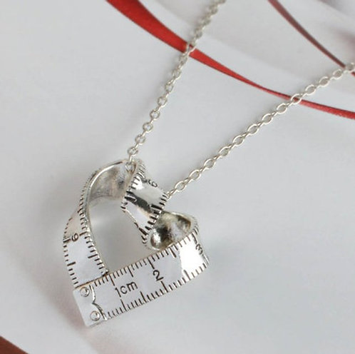Tape measure Heart Necklace - Silver