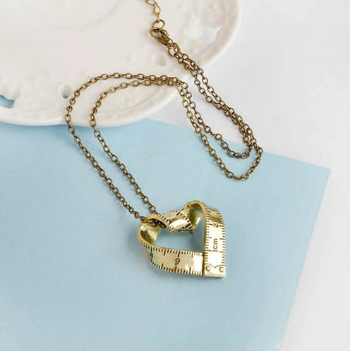 Tape measure Heart Necklace -Gold