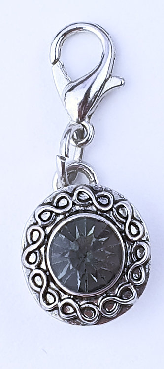 12mm Zipper charms - Charcoal Grey  Crystal