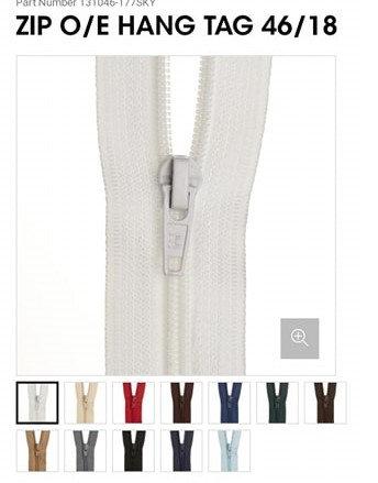 """46cm / 18"""" Nylon Open End Zip - Various Colours"""