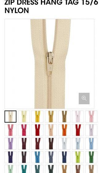 """15cm/6"""" Nylon Dress Zip- Various Colour"""