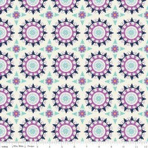 Lulabelle Cream/ Blue and Purple Motifs By Riley Blake Design