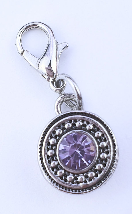 12mm Zipper Charm - Light Mauve Crystal