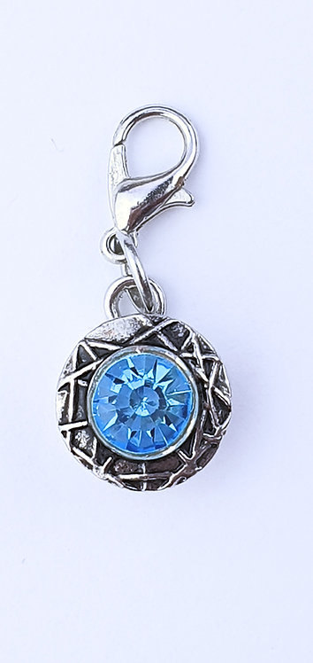12mm Zipper charms - Blue Crystal