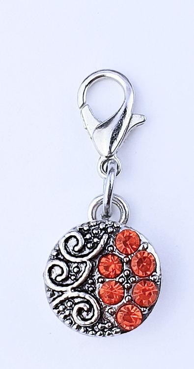 12mm Zipper charms -  Orange Crystal