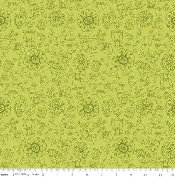 Dutch Treat Floral- Green - By Penny Rose Fabric