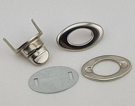 20mm Silver Oval Twist Lock