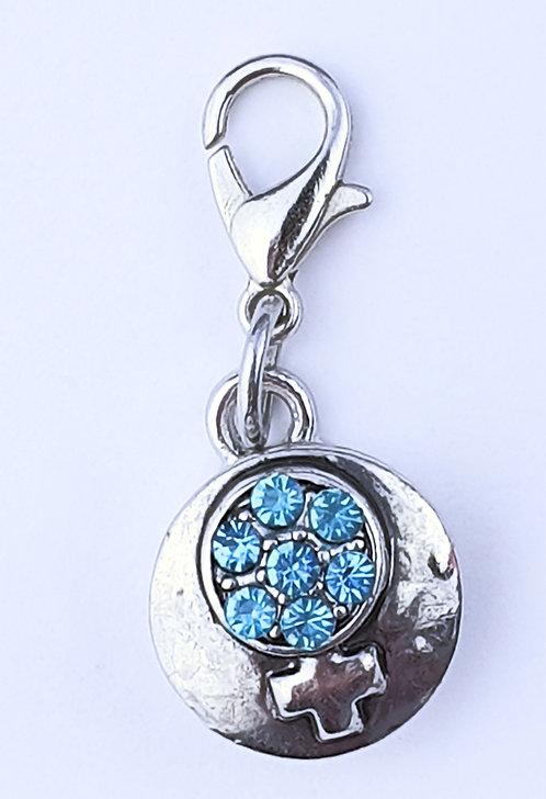 12mm Zipper charms - Blue Crystal - female symbol