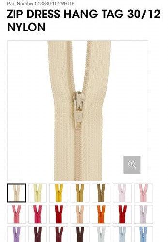 """30cm/12"""" Nylon Dress Zip- Various Colour"""