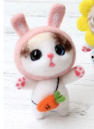 DIY Mini Wool Felt Animals - Rabbit Cat
