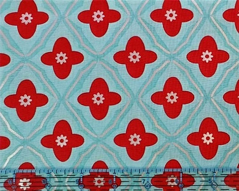 Metallic pattern/ red and turquoise
