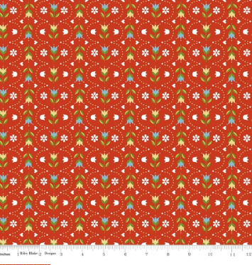 Dutch Treat Floral- Red floral stripe - By Penny Rose Fabric