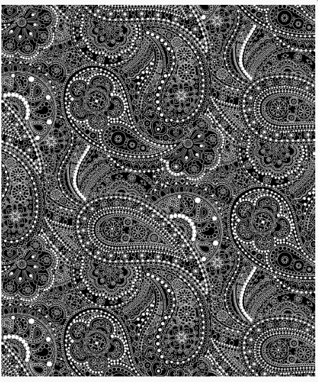 "Quilt Backing Fabric - Black/White Paisley 108"" ( 2.80m) Wide"