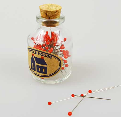 Little House Glass Head Pins -Red