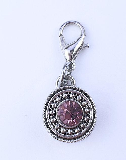 12mm Zipper charms - Pink/purple Crystal
