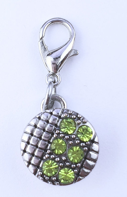 12mm Zipper charms - Green Crystal