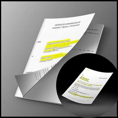 Duo Modèle entente de confidentialité & modèle contrat de travail
