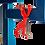Thumbnail: Grimpeurs | Sculpture haut relief  (22 x 58 pouces) bleu & rouge
