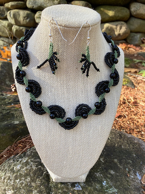 Black Onyx Elegance Necklace and Earrings Set