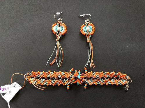 Autumn Calls Bracelet and Earrings Micro-Macrame  Set