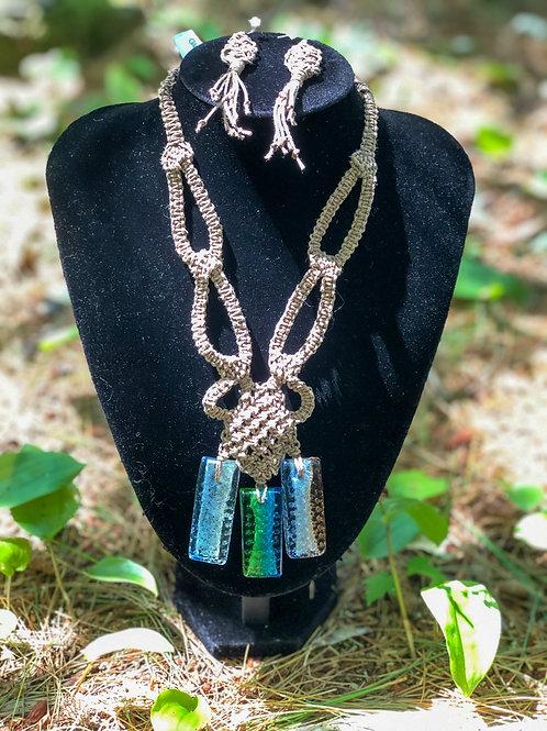 Bold Glass Pendants Micro-Macrame Necklace and Earrings Set