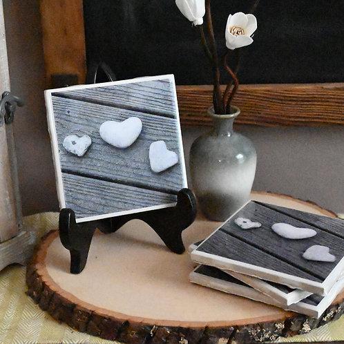 Three Stone Hearts Coaster