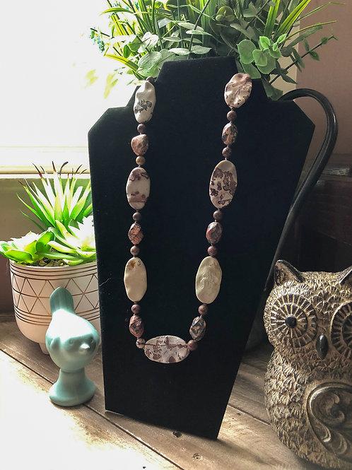Crazy Horse and Leopard Skin Jasper Stones Necklace