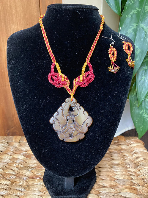 Soap Stone Pendant Necklace and Tiger Eye Earrings Set