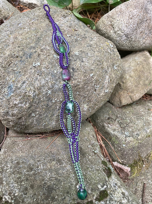 Ruby Zoisite & Azurite-Malachite Bracelet