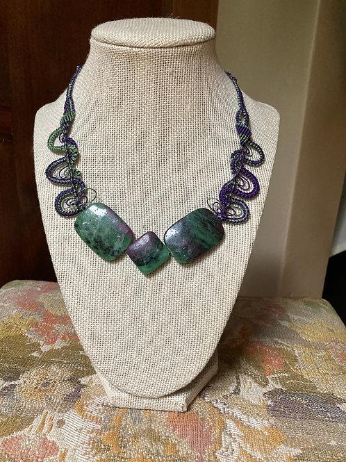 Ruby Zoisite of Swirls Necklace