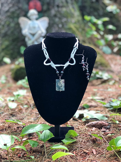 Fossil Coral and Hematite Necklace and Earrings Set