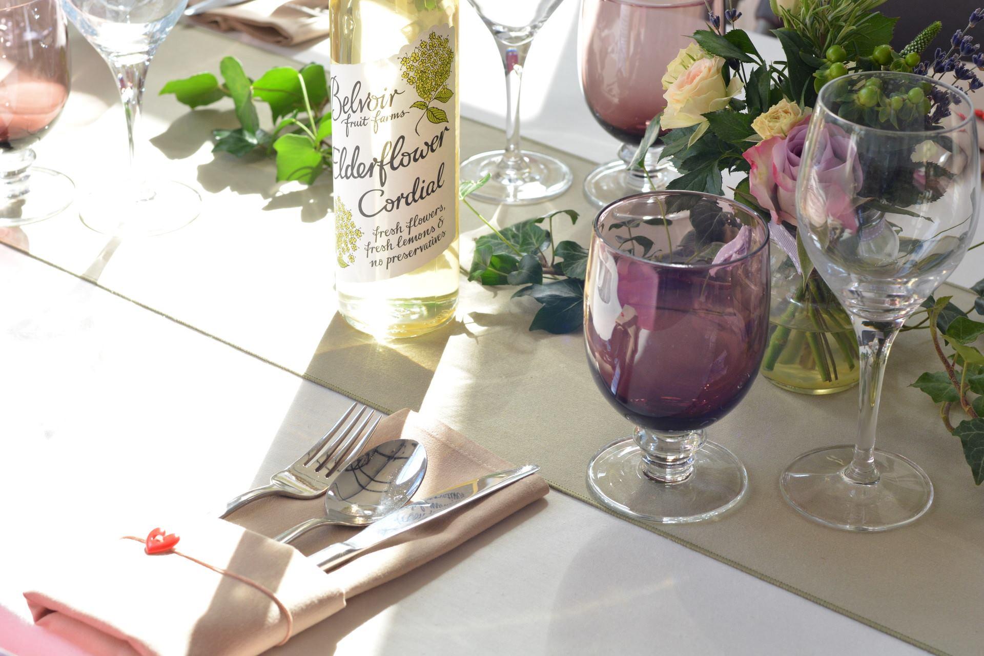Beautiful summer wedding table settings.
