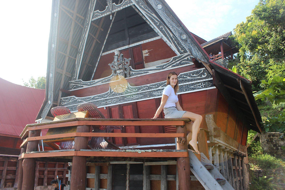 Spend the night in a traditional Batak style house, over-looking Lake Toba