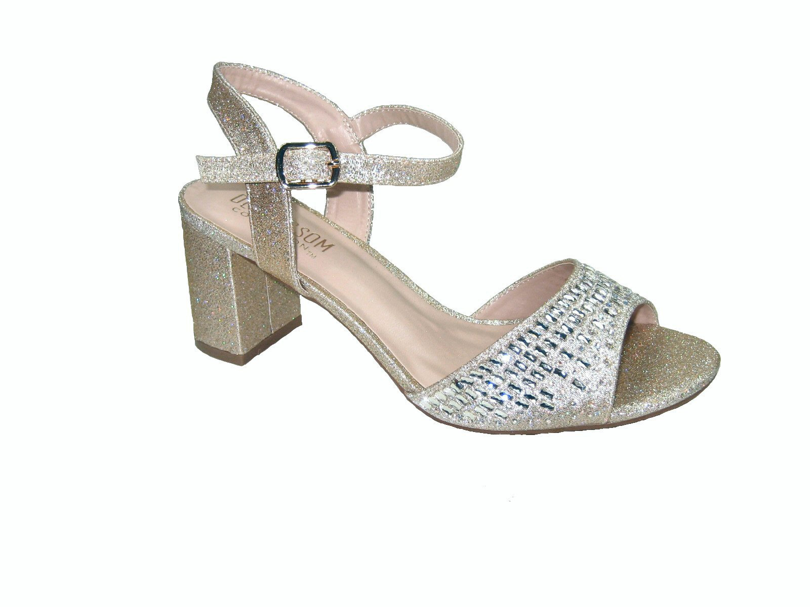 92a6758dc92 Blossom amber-9 strappy nude sparkle shimmer 3 inch block heel party sandals