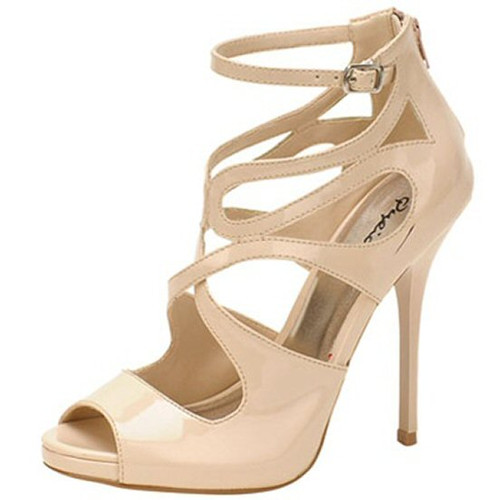 a89488bd946 Nude Qupid Demand-216 strappy pumps 5 inch stiletto high heel shoes nude  patent ...