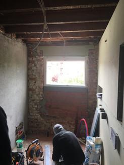 Hellende dakkapel tijdens de werken @ Tervuren