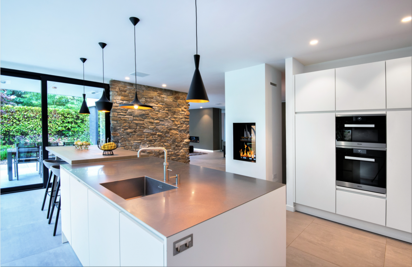 keuken, open haard, steenstrips