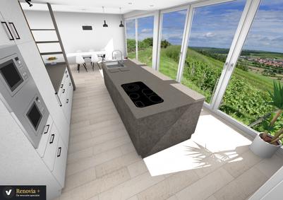 Keuken & Living integratie 3D Ontwerp @ Veerle