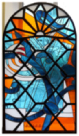 stained glass in iron frame
