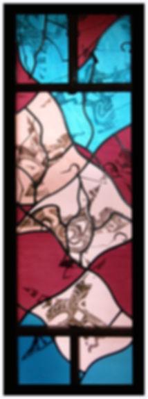 Stained glass window, birds