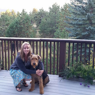 Jill Anne Popplewell with her Airedale Terrier