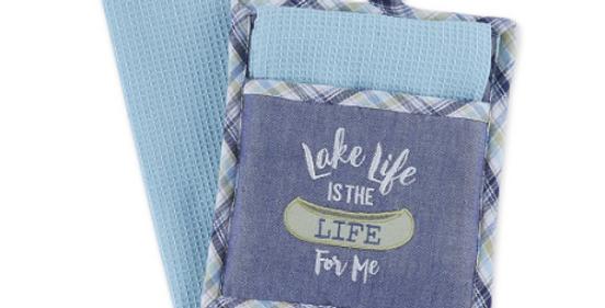 Lake Life Kitchen Set Potholder and Dishtowel