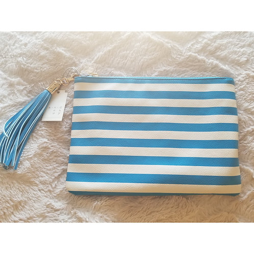 Blue and White Striped bag with tassle