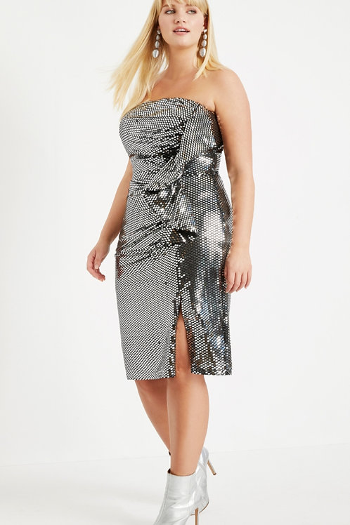 Brand New Eloquii silver sequin strapless dress with exaggerated ruffle. size 18
