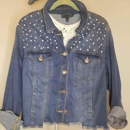 Blue denim jacket with pearl detail sz 22